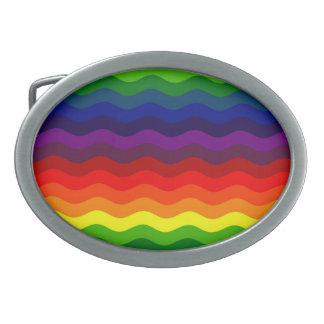 CATCH THE WAVE - RAINBOW STRIPES ~v.2~ Oval Belt Buckle