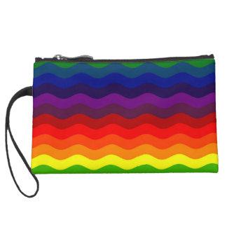 CATCH THE WAVE - RAINBOW STRIPES ~v.2~ Suede Wristlet Wallet