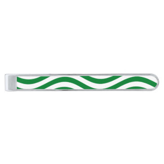 CATCH THE WAVE - SPEARMINT GREEN ~ ~ SILVER FINISH TIE CLIP