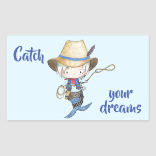 Catch Your Dreams Cowboy Mermaid Rectangular Sticker