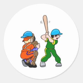 Catcher & Batter Classic Round Sticker
