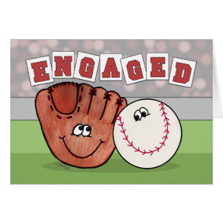 Catcher's Mitt and Baseball ENGAGEMENT Annoucement Card