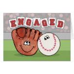 Catcher's Mitt and Baseball ENGAGEMENT Annoucement Greeting Card