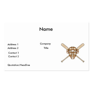 catchers mask and bats baseball icon business card