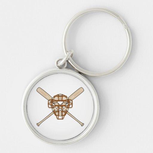catchers mask and bats baseball icon key chain