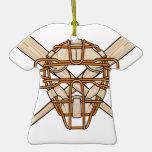 catchers mask and bats baseball icon ornament