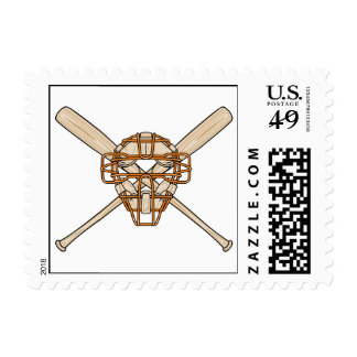 catchers mask and bats baseball icon stamp