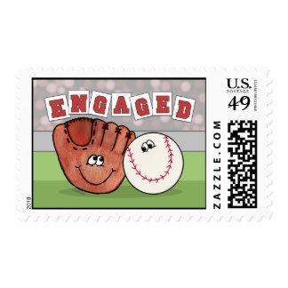 Catcher's Mitt and Baseball ENGAGEMENT Stamp