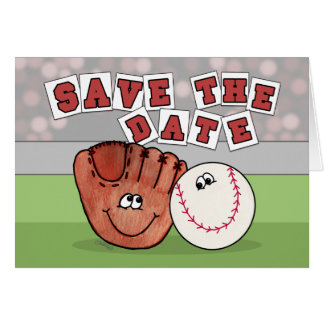 Catcher's Mitt and Baseball SAVE THE DATE Cards