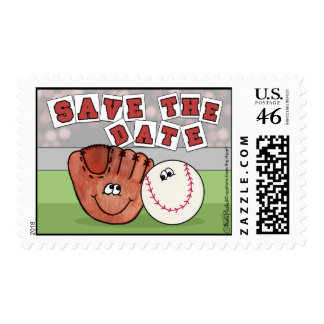 Catcher's Mitt and Baseball SAVE THE DATE Stamps