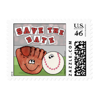 Catcher's Mitt and Baseball SAVE THE DATE Postage Stamps