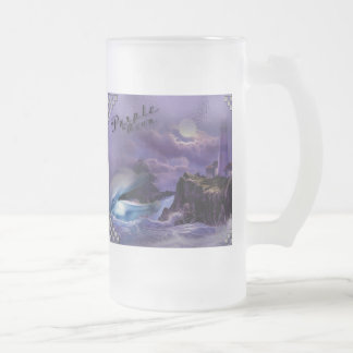 catches of beer frosted with dolphin 16 oz frosted glass beer mug