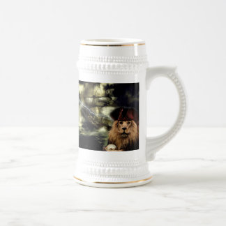 Catches of beer with lion and pirate boat 18 oz beer stein