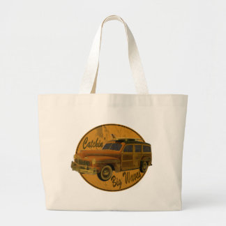 catchin' big waves in the woodie large tote bag