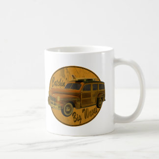 catchin' big waves in the woodie classic white coffee mug