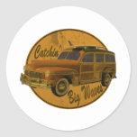 catchin' big waves in the woodie classic round sticker