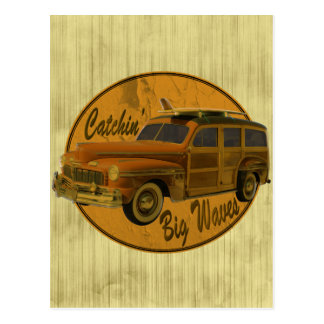 catchin' big waves in the woodie tan postcard