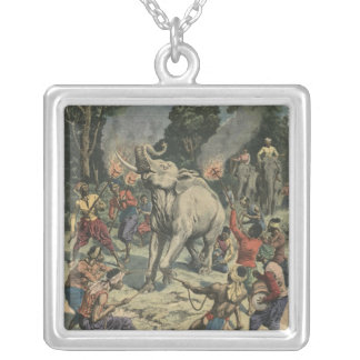 Catching a white elephant in Siam Silver Plated Necklace