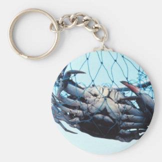 Catching Blue Crab Basic Round Button Keychain