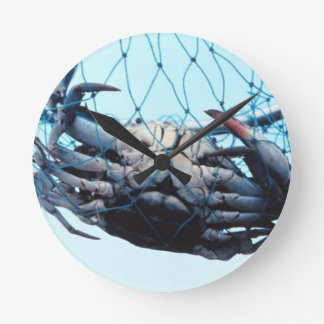 Catching Blue Crab Round Clock
