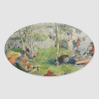 Catching Crawdads Oval Sticker