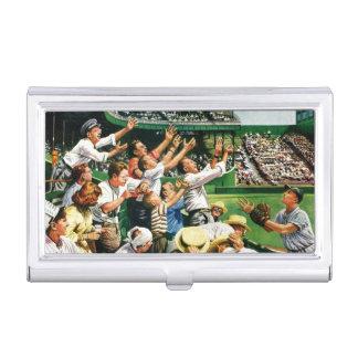 Catching Home Run Ball Business Card Holder