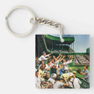 Catching Home Run Ball Double-Sided Square Acrylic Keychain
