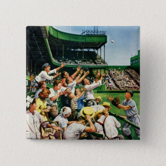 Catching Home Run Ball Pinback Button