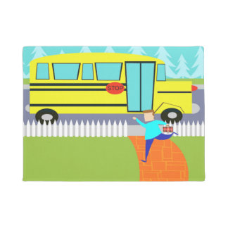 Catching School Bus Cartoon Door Mat