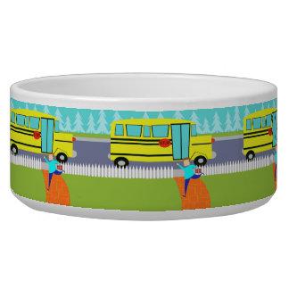Catching School Bus Dog Bowl