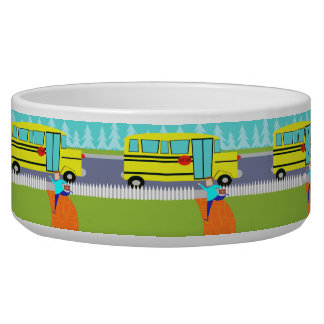 Catching School Bus Dog Bowl