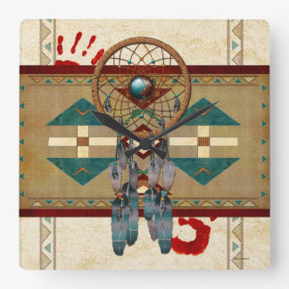 Catching Spirit Native American Square Wall Clock