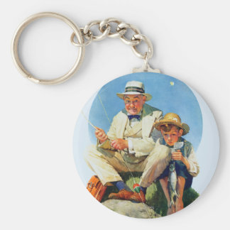 Catching the Big One Basic Round Button Keychain