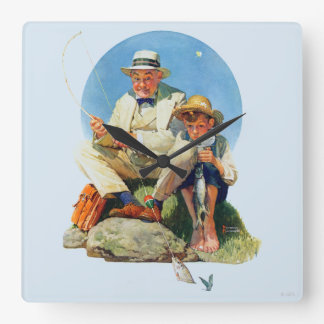 Catching the Big One Square Wall Clock