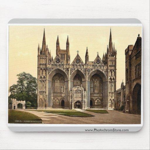 Catedral, al oeste frente, Peterborough, Inglaterr Tapetes De Ratones
