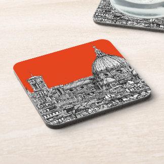 Catedral anaranjada ácida posavasos de bebidas