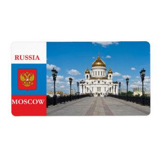 Catedral Cristo el salvador en Moscú Etiqueta De Envío