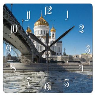 Catedral Cristo el salvador en Moscú Reloj Cuadrado