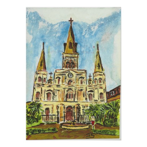 Catedral, cuadrado de Jackson, New Orleans Póster