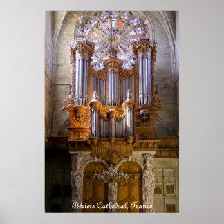 Catedral de Béziers, Francia, poster del órgano su