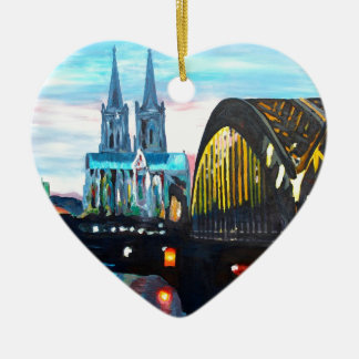 Catedral de Colonia con Hohenzollernbridge Adorno Navideño De Cerámica En Forma De Corazón