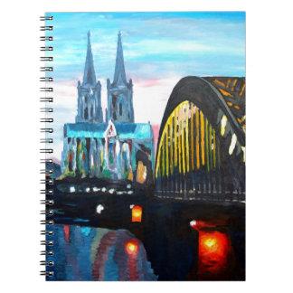 Catedral de Colonia con Hohenzollernbridge Cuadernos