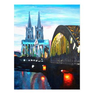 Catedral de Colonia con Hohenzollernbridge Membrete Personalizado