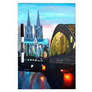 Catedral de Colonia con Hohenzollernbridge Pizarras Blancas