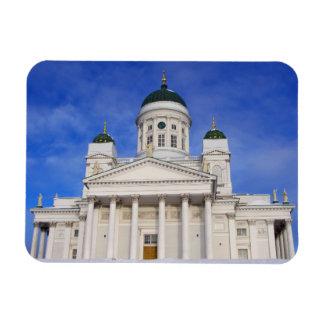 Catedral de Helsinki en nieve del invierno Imanes Rectangulares