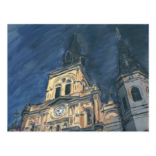 Catedral de la noche, barrio francés tarjetas postales