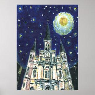 Catedral de la noche estrellada impresiones