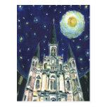 Catedral de la noche estrellada tarjetas postales