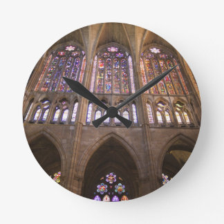 Catedral de Leon, interior stained glass windows 2 Round Wallclocks