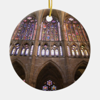 Catedral de Leon, interior stained glass windows 2 Christmas Tree Ornament